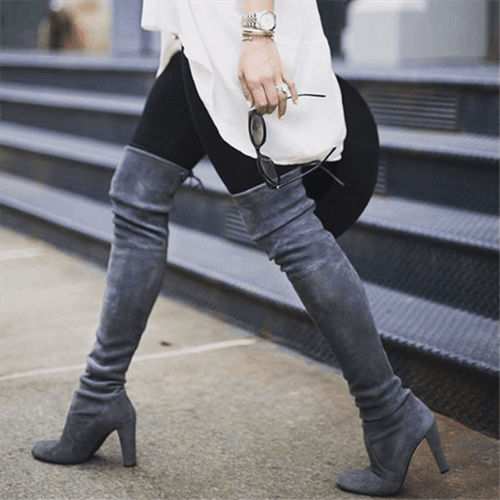 Nesa Fashion New Women Thigh High Boots Fashion Suede Leather High Heels Lace up Female Over The Knee Boots Plus Size Shoes