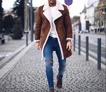 Load image into Gallery viewer, Nesa Fashion Men Fur Fleece Blends Brown Color Trench Coat Overcoat Lapel Warm Fluffy Jacket Outerwear Male Warm Jacket