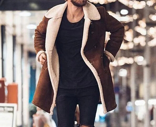 Nesa Fashion Men Fur Fleece Blends Brown Color Trench Coat Overcoat Lapel Warm Fluffy Jacket Outerwear Male Warm Jacket
