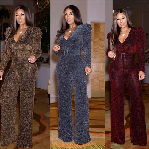 Nesa Fashion Sexy Deep V Neck Glitter Wide Leg Jumpsuit Women Loose Long Sleeve Elegant Romper with Belt Nightclub Party Club