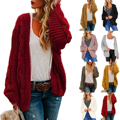 Nesa Fashion New Arrival Open Front Cardigan Knitted Long Casual Sweaters