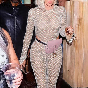 Nesa Fashion web patchwork long sleeve hollow out sexy jumpsuit  women street-wear club outfit