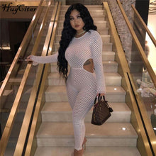 Load image into Gallery viewer, Nesa Fashion web patchwork long sleeve hollow out sexy jumpsuit  women street-wear club outfit