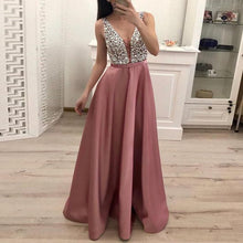 Load image into Gallery viewer, Nesa Fashion Dress  Sexy V-Neck Sleeveless Dress Wedding Bridesmaid Party elegant  Evening dress