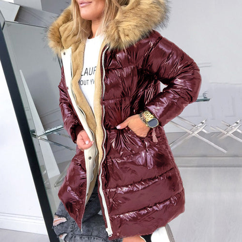 Cotton Padded Down Jacket Women Winter Coat Warmness Plus Size Black Overcoat Parka Basic Jackets Thick Fleece Fur Hood Coat
