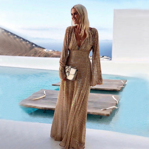Nesa Fashion Women Sequin Long Maxi Dress Flare Long Sleeve Deep V Neck Evening Prom Holiday Fashion Dress