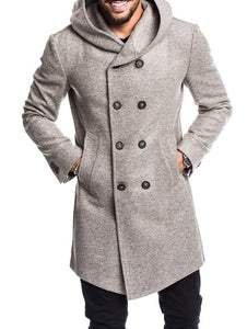 Nesa Fashion Men's Coat   Casual Solid Color Woolen Trench Long Coat
