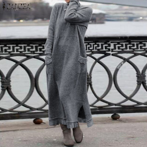 Nesa Fashion Women Long Sweatshirt Dress Autumn Winter Long Sleeve Lace Patchwork Dress