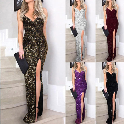 Nesa Fashion Vintage Long Sexy Dress   Deep V Sequins Wrap Ruched Split High Waist Sleeveless Nightclub Party Dress