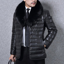 Load image into Gallery viewer, Nesa Fashion Men's Casual Leather Jackets Fur Collar Slim Fit Winter Warm PU Coat Button Suede Outwear Black Overcoats Clothes