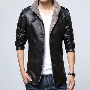 Nesa Fashion Men's Casual Leather Jackets Fur Collar Slim Fit Winter Warm PU Coat Button Suede Outwear Black Overcoats Clothes