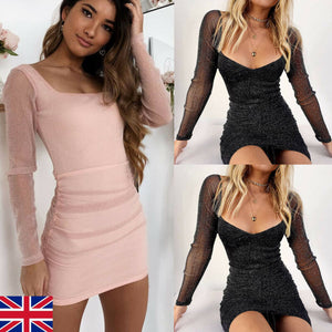 Nesa Fashion Women Sexy Long Sleeve  Mini Dress    Evening Party Night Club Bright Silk Slim Dress