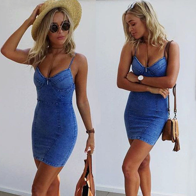 Nesa Fashion Sexy Women Dress  Sleeveless Party Jean Dress Denim Fashion Mini Dress