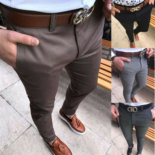 Nesa Fashion Hot Men's Slim Fit Business Formal Pants Cotton Mid Rise Bottoms Plus Size Casual Office Skinny Straight Solid Trousers