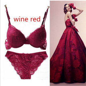 Nesa Fashion 6 Colors Set Push Up Solid 32A-38C Bra Women Deep V Lace Decro Underwire Outfit Sexy Lace Bra Set For Free Shipping