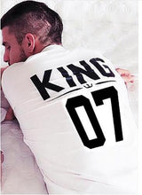 Load image into Gallery viewer, Nesa fashion 100% Cotton Matching T shirt King 07 Queen 07 Prince Princess Newborn Letter Print Shirts,Couples Leisure Short Sleeve O neck T-