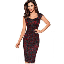 Load image into Gallery viewer, Nesa Fashion Women Sexy Elegant Summer Floral Flower Lace Cap Sleeve Slim Casual Party Fitted Sheath Bodycon Dress vestidos 4XL