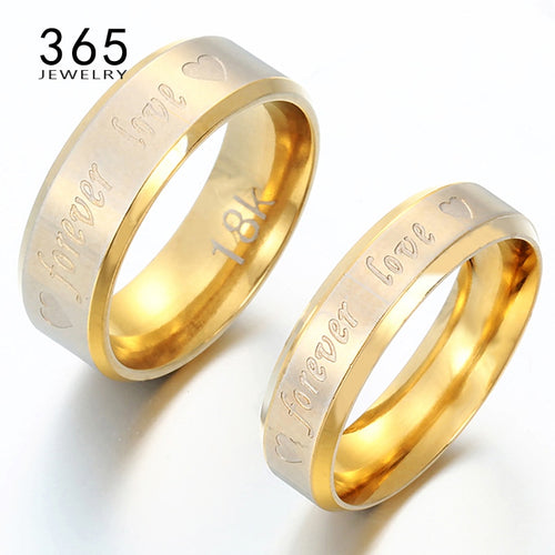 Nesa Fashion Stainless Steel Ring Engrave Letter Forever Love Promise Engagement Rings for Men Women 1 Piece