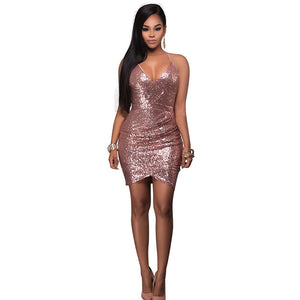 Nesa Fashion Sexy Sleeveless Deep-V Halter Split Sequin Dress Metal Christmas Party Vestido Drapped Sequined Night Club Dresses
