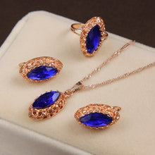 Load image into Gallery viewer, MINHIN Gold Color Long Chain Necklace Blue Synthetic Crystal Pendant Jewelry Women's Luxury 3 Pieces Wedding Jewelry Set