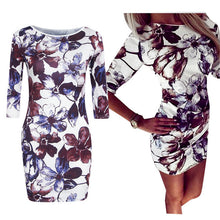 Load image into Gallery viewer, Nesa Fashion  Dress Bodycon Elastic Soft Flower Print Casual Women Dress