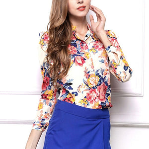 Nesa Fashion Spring Autumn Women's Casual Floral Print High Neck Long Sleeve Loose Chiffon Blouse Shirt