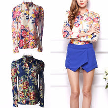 Load image into Gallery viewer, Nesa Fashion Spring Autumn Women's Casual Floral Print High Neck Long Sleeve Loose Chiffon Blouse Shirt