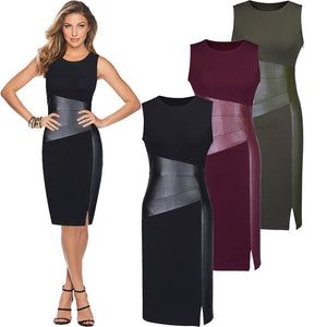 Nesa Fashion Sexy Women Sleeveless Patchwork PU Leather Dress Wine Red Black Army Green Low Cut Bodycon Evening Party Pencil Dress Clothes