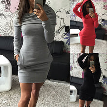 Load image into Gallery viewer, Nesa Fashion Autumn Winter Women Sexy Dress With Hat Solid Color Long Sleeve Pocket Keep Warm Ladies Girl Casual Dresses FS99