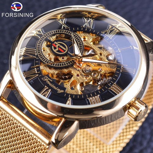 Nesa Fashion Forsining Transparent Case  Fashion 3D Logo Engraving Golden Stainless Steel Men Mechanical Watch Top Brand Luxury Skeleton