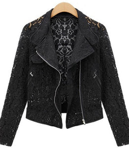 Lace Biker Jacket 2017 Autumn New Brand High Quality Full Lace Outwear Leisure Casual Short Jacket Metal Zipper Jacket FREE SHIP
