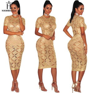 Nesa Fashion Sexy Evening Party Bodycon Dress Short Sleeve Knitted Dress Party Night Club Dress Gold Shinning Robe Longue Ete