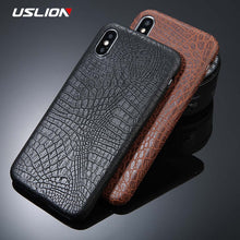 Load image into Gallery viewer, USLION For iPhone 5 5s SE 6 6s 7 8 Plus X Case Crocodile Texture Phone Cases PU Leather Back Cover Coque For iPhone 7 Plus