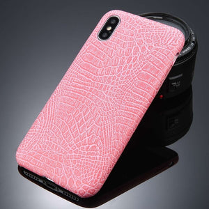 USLION For iPhone 5 5s SE 6 6s 7 8 Plus X Case Crocodile Texture Phone Cases PU Leather Back Cover Coque For iPhone 7 Plus