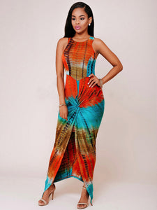 Nesa Fashion Sexy Women Summer Casual Sleeveless Party Dress Exotic Printed Summer Bandage Long maxi Dress