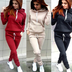Autumn Winter Women 2 Piece Set Thick Long Sleeve Drawstring Solid Color Sportswear Ladies Girls Casual Tops + Pants FS9