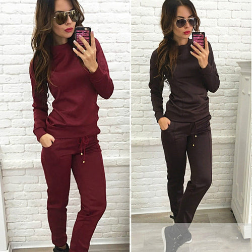 Fashion Autumn Winter Women 2 Piece Set Solid Color Long Sleeve Tops + Pants Ladies Fitness  Shirt Trousers FS99