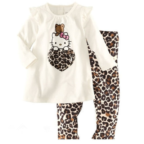 Nesa Fashion Dog Baby Girls Pajamas Suits 2 3 4 5 6 7 years Children Clothes Sets Girl Clothes sets T-Shirts Pant Sleepwear 100% Cotton