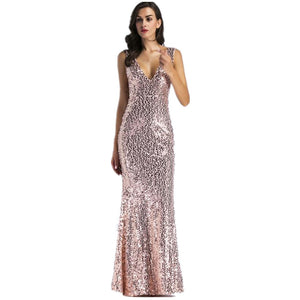 Nesa Fashion Sexy Gold Long Maxi Sequin Dress Elegant Christmas Backless Floor Length Luxury Nightclub Evening Party Dresses
