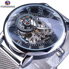 Load image into Gallery viewer, Nesa Fashion Forsining Transparent Case  Fashion 3D Logo Engraving Golden Stainless Steel Men Mechanical Watch Top Brand Luxury Skeleton