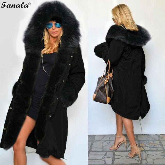 FANALA 2018 Fashion Women's  Faux Fur Lining Hooded Long Coat Parkas Outwear Army Green Large Raccoon Fur Collar Winter Jacket