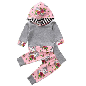 pudcoco kids babay girl flower Unicorn cotton clothes Toddler bebe Girls warm Top Hoodie +Pants Outfit Clothing set