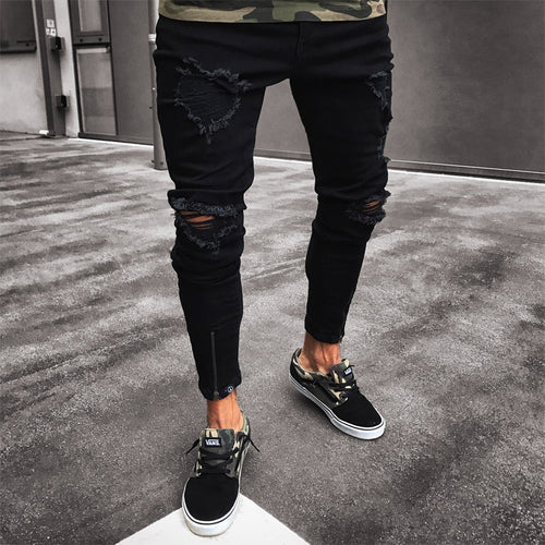 Nesa Fashion Men Jeans Stretch Destroyed Ripped Design Black Pencil Pants Slim Biker Trousers Hole Jeans Street-wear Swag Pants