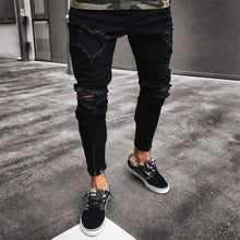 Load image into Gallery viewer, Nesa Fashion Men Jeans Stretch Destroyed Ripped Design Black Pencil Pants Slim Biker Trousers Hole Jeans Street-wear Swag Pants