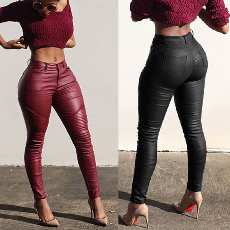 Nesa Fashion Sexy Ladies Leather Skinny High Waist Leggings Stretchy Pencil Pants Trousers Women PU Leather Skinny Pencil Pant