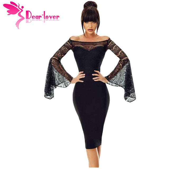 Nesa Fashion - Dear Lover Little Black Spring 2018 Sexy Party Lace Bell Long Sleeve Off Shoulder Bodycon Dress Knee-Length Robe Femme LC220269