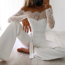 Load image into Gallery viewer, Nesa Fashion Newest Women Lace Floral White Color Long Sleeve Jumpsuit Romper Clubwear Playsuit Bodycon Party Trousers female