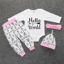 Load image into Gallery viewer, Nesa Fashion new baby boy clothes set cotton long-sleeved Romper + trousers + hat  3 pcs. newborn baby boy clothes set