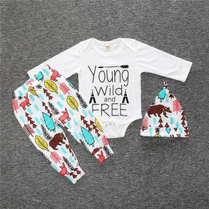 Nesa Fashion new baby boy clothes set cotton long-sleeved Romper + trousers + hat  3 pcs. newborn baby boy clothes set