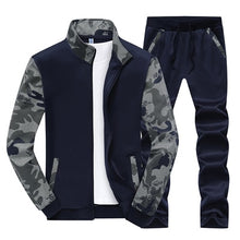 Load image into Gallery viewer, Nesa Fashion Men Sportwear Sets Tracksuit Male Outwear Sweatshirts Patchwork Men Hoodies Stand Collar Male Tracksuit